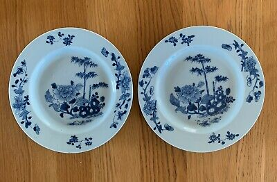 Good Pair Of  Hand Painted Antique Chinese Porcelain Blue & White Plates 19th C
