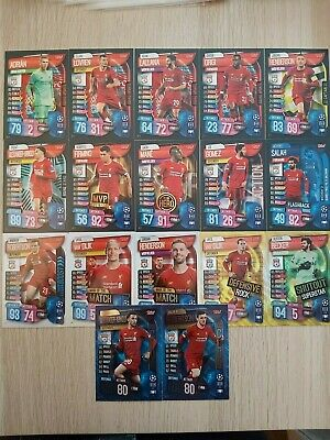 Match Attax EXTRA 19/20 set of Liverpool foil cards inc Gold foils & 100 Club