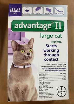 Bayer ADVANTAGE II for large Cat Over 9 lbs (6-Pack), Free shiping - NEW