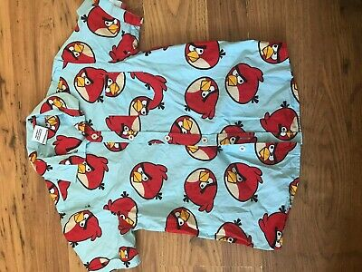 BOYS NEXT ANGRY BIRDS BLUE AND RED SHORT SLEEVE SHIRT age 7 years IN VGC