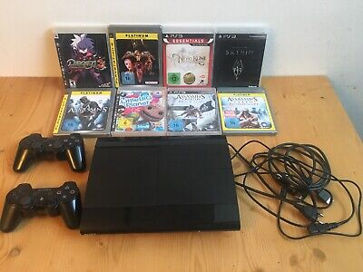 Sony Playstation 3 PS3 Konsole Super Slim 500GB 8 Spiele 2 Original Controller
