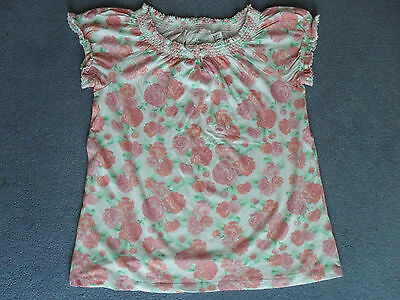 H&M LOGG Pink Rose Pattern Girls Top (Very Good Condition)