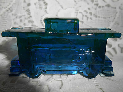 Blue Cobalt Vaseline glass train Caboose boxcar uranium railroad / RR art depot