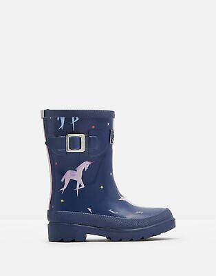 Joules Girls Printed Wellies - BLUE UNICORN Size Childrens 9