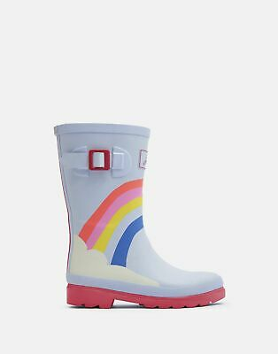Joules Girls Printed Wellies - BLUE RAINBOW Size Childrens 9