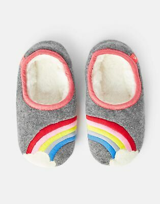Joules Girls Slippet Felt Mule Slippers - GREY RAINBOW Size L