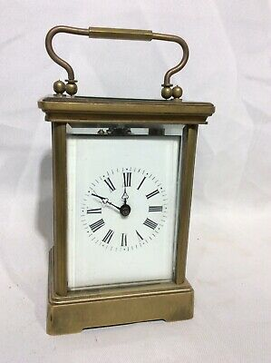 Reproduction Brass Four Glass Carriage Clock And Key