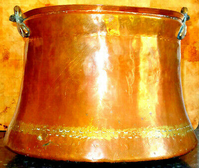 Rare Large Antique French Hand Beaten Banded Copper Cauldron c1800's
