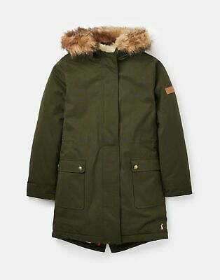 Joules Girls Bonnie Faux Fur Lined Parka  - EVERGLADE Size 5yr