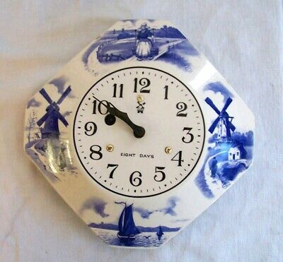 Vintage Delft style 8 Day Wall Clock, Ceramic, with key, in working condition