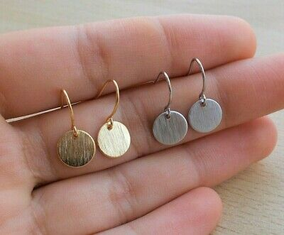 Round Gold or Silver Dangle Earrings Small Simple Tiny Plated Coin Disc Ear Ring
