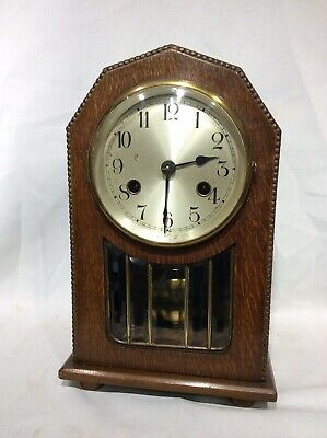 Edwardian Striking German Oak Case Mantle Clock