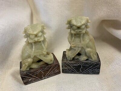 Vintage Pair Chinese Dragon Figurine Statue Hand Carved Soap Stone 2.5""