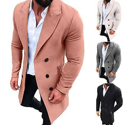 Mens Winter Trench Coat Double Breasted Casual Warm Outwear Long Jacket Overcoat