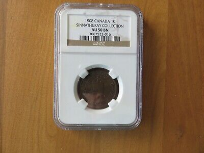 1908 Canada One Large Cent 1c - NGC AU50 BN SINNATHURAY COLLECTION