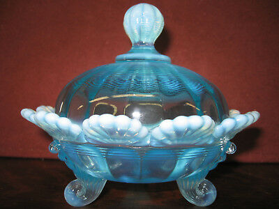 Blue opalescent glass klondyke pattern Covered Candy dish butter sugar bowl aqua