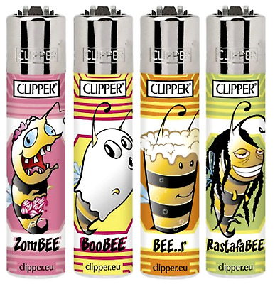 4 x Clipper Lighters BEES 2 Gas Flint Refillable RARE Lighters