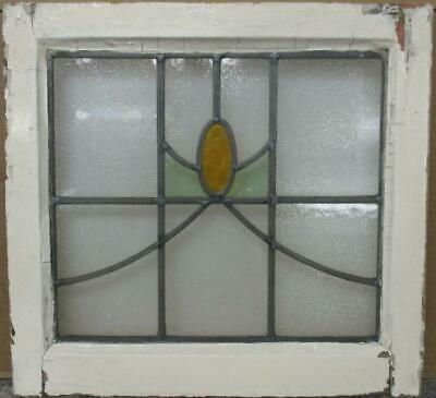 "OLD ENGLISH LEADED STAINED GLASS WINDOW Simple Abstract Sweep 19.25"" x 18"""