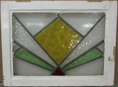 "OLD ENGLISH LEADED STAINED GLASS WINDOW Stunning Geometric Burst 22"" x 16.5"""