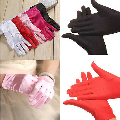Satin Gloves Women Evening Party Cocktail Dress Prom Wrist Finger Wedding Gloves