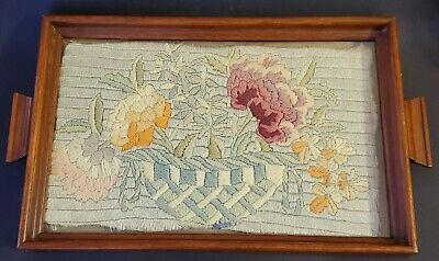 Long & Short Stitch w Wool Needle Point in Vintage Serving Tray Frame