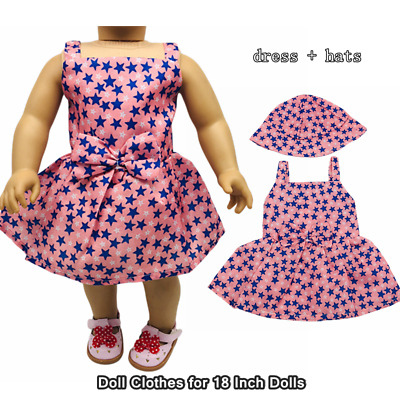 Doll Clothes Fashion Accessories Pink Star Slip Dress Hats for 18 Inch Dolls