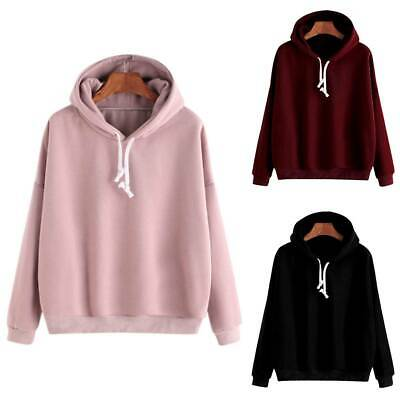 Womens Ladies Hoodies Hooded Sweatshirt Winter Warm Tops Jumper Pullover Sizes