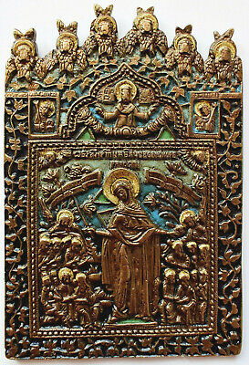 """RUSSIAN ORTHODOX ICON """"Mother Mary"""", handmade, copper alloy, enamel."""