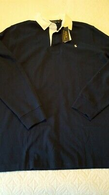 mens new w tags Polo Ralph Lauren LS navy blue rugby shirt white collar size XL