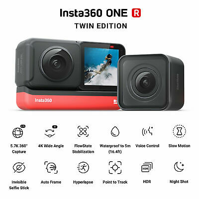 New Insta360 ONE R TWIN EDITION Dual Lens Action Camera 5.7K 360° Camera Sealed
