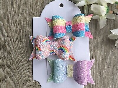 "Handmade set of 3 sparkly rainbow glitter 2.5"" hair bows baby/girls clips"