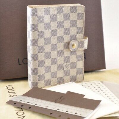 LOUIS VUITTON Damier Azur Agenda MM Day Planner Cover R20707 LV Auth 4783