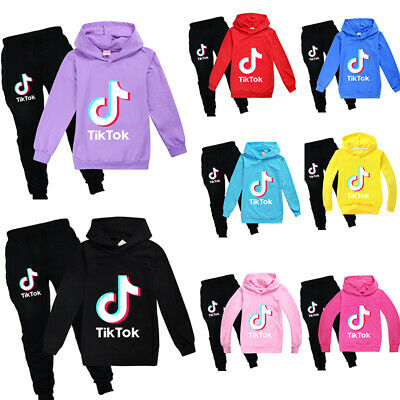 Kids Tik Tok Hoodie Pants Suit Girls Long Sleeve Tracksuit Sportswear Set 3-14Y