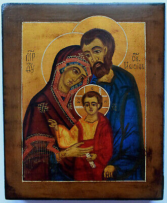 """RUSSIAN ORTHODOX ICON """" Holy family """", handpainted, tempera"""
