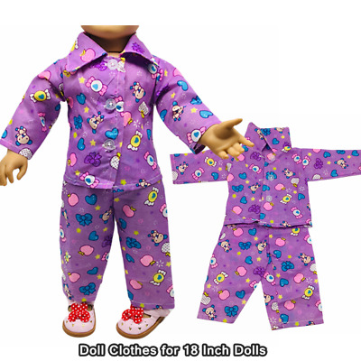 Doll Clothes Fashion Accessories Purple Long Sleeve Tops Pants for 18 inch Dolls
