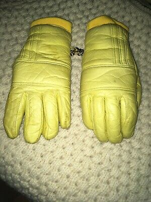 WOMENS VINTAGE GRANDOE INSULATED Yellow LEATHER SKI GLOVES Size M