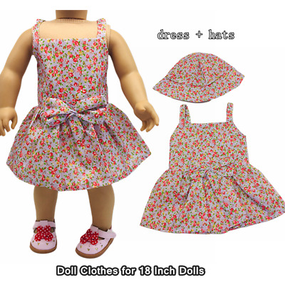 Doll Clothes Fashion Accessories Purple Flower Slip Dress Hats for 18 Inch Dolls