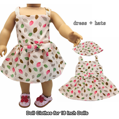 Doll Clothes Fashion Accessories Pink Leaf Slip Dress Hats for 18 Inch Dolls