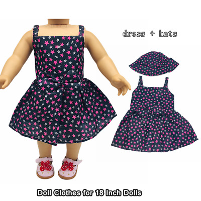 Doll Clothes Fashion Accessories Star Pattern Slip Dress Hats for 18 Inch Dolls