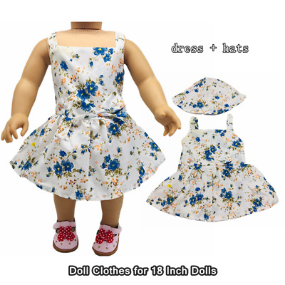 Doll Clothes Fashion Accessories Blue Flower Slip Dress Hats for 18 Inch Dolls