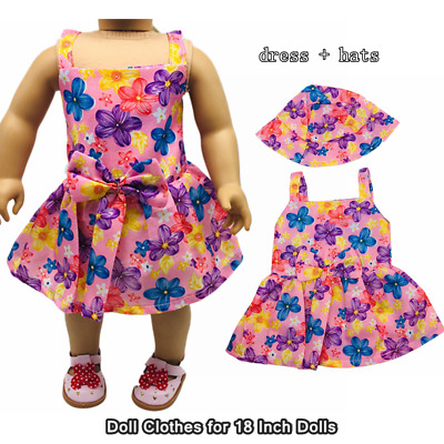 Doll Clothes Fashion Accessories Pink Flower Slip Dress Hats for 18 Inch Dolls