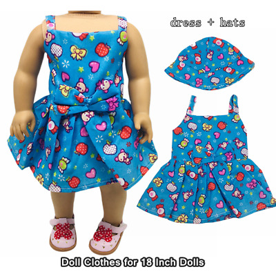 Doll Clothes Fashion Accessories Blue Candy Slip Dress Hats for 18 Inch Dolls