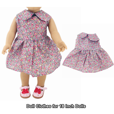 Doll Clothes Fashion Accessories Purple Flower Dress for 18 Inch Dolls Dress