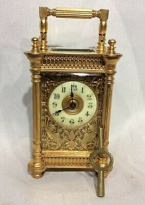 Small Ornate 8 Day Four Glass Brass Antique Carriage Clock Mask dial, Fret Sides