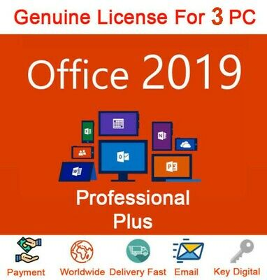 Microsoft Office Professional Plus2019  Genuine Key For 3 PC Instant Delivery✔️