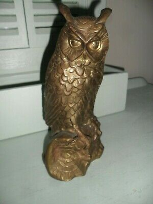 Large Antique French Brass Owl Figure. Good condition.