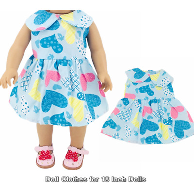 Doll Clothes Fashion Accessories Blue Heart Dress for 18 Inch Dolls Doll Dress