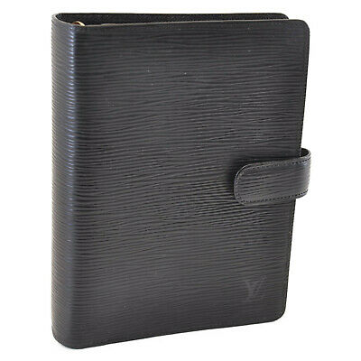 LOUIS VUITTON Epi Agenda MM Day Planner Cover Black R20042 LV Auth 7098