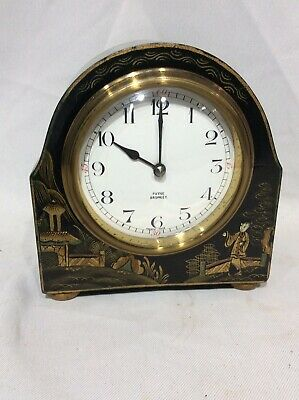 Edwardian 8 Day Black Chinoiserie Drumhead Mantel Clock Payne Bromley