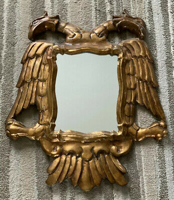 Antique Italian Mirror Ornate Gilded Wood With Double Headed Eagle